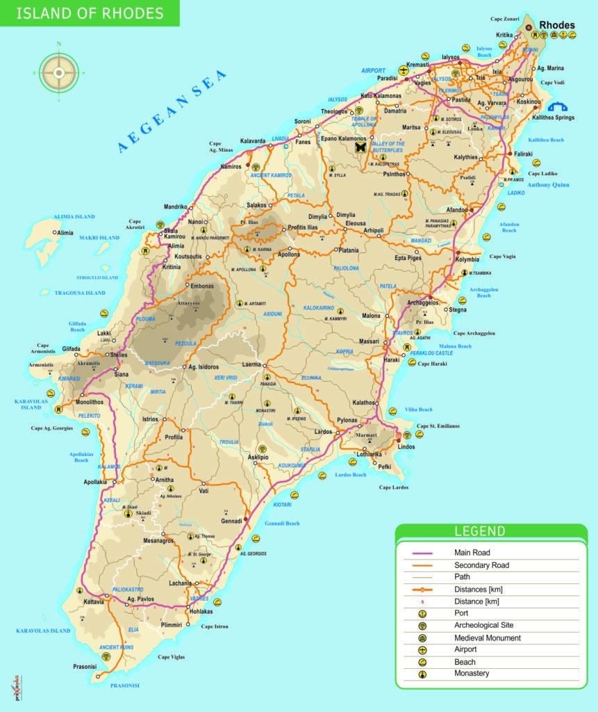 carte routière de Rhodes