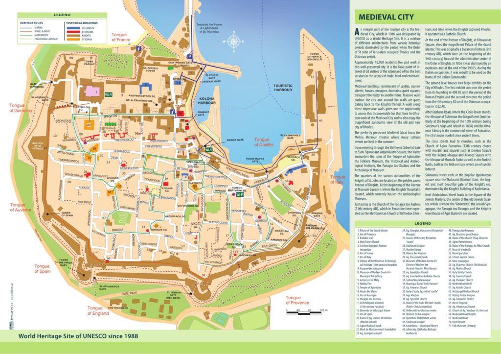 Plan ville médiévale de Rhodes